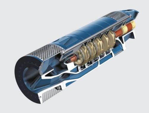 Погружной центробежный насос в разрезе
