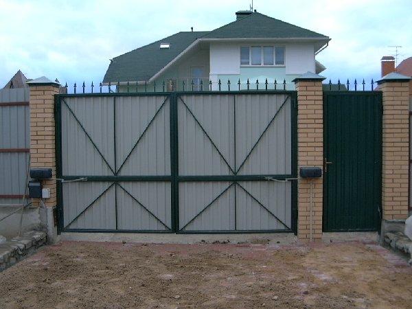 Ворота с калиткой фото