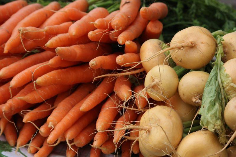 Различные корнеплоды, например, репа или морковь