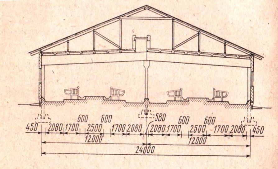 Рис. № 7. Коровник с комбибоксами для лактирующих коров, ширина 24 м (в разрезе).