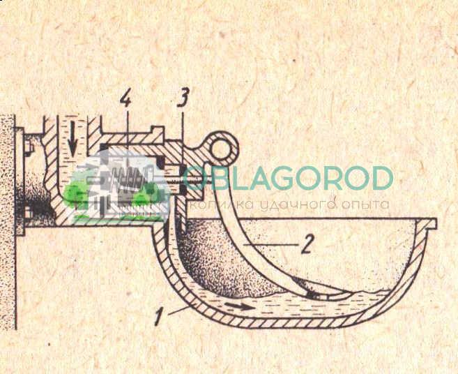 Чашечная автопоилка: 1 – чаша, 2 – рычаг, 3 – резиновая прокладка, 4 – пружина.